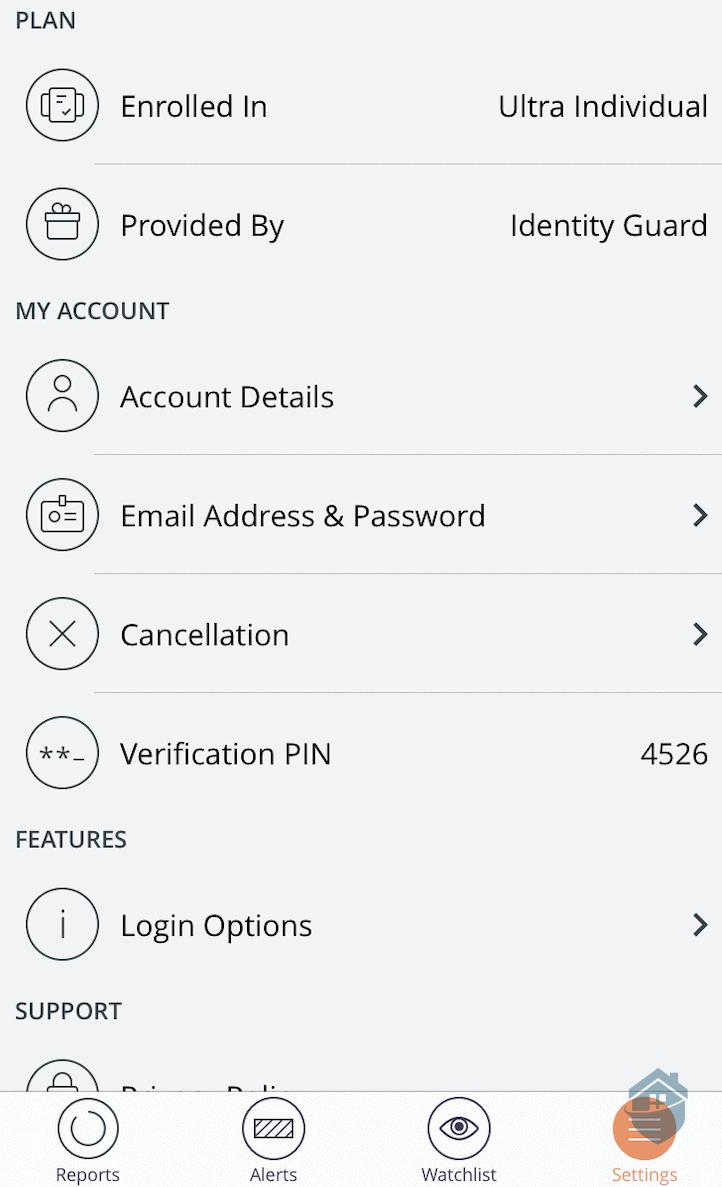 Identity Guard App Settings