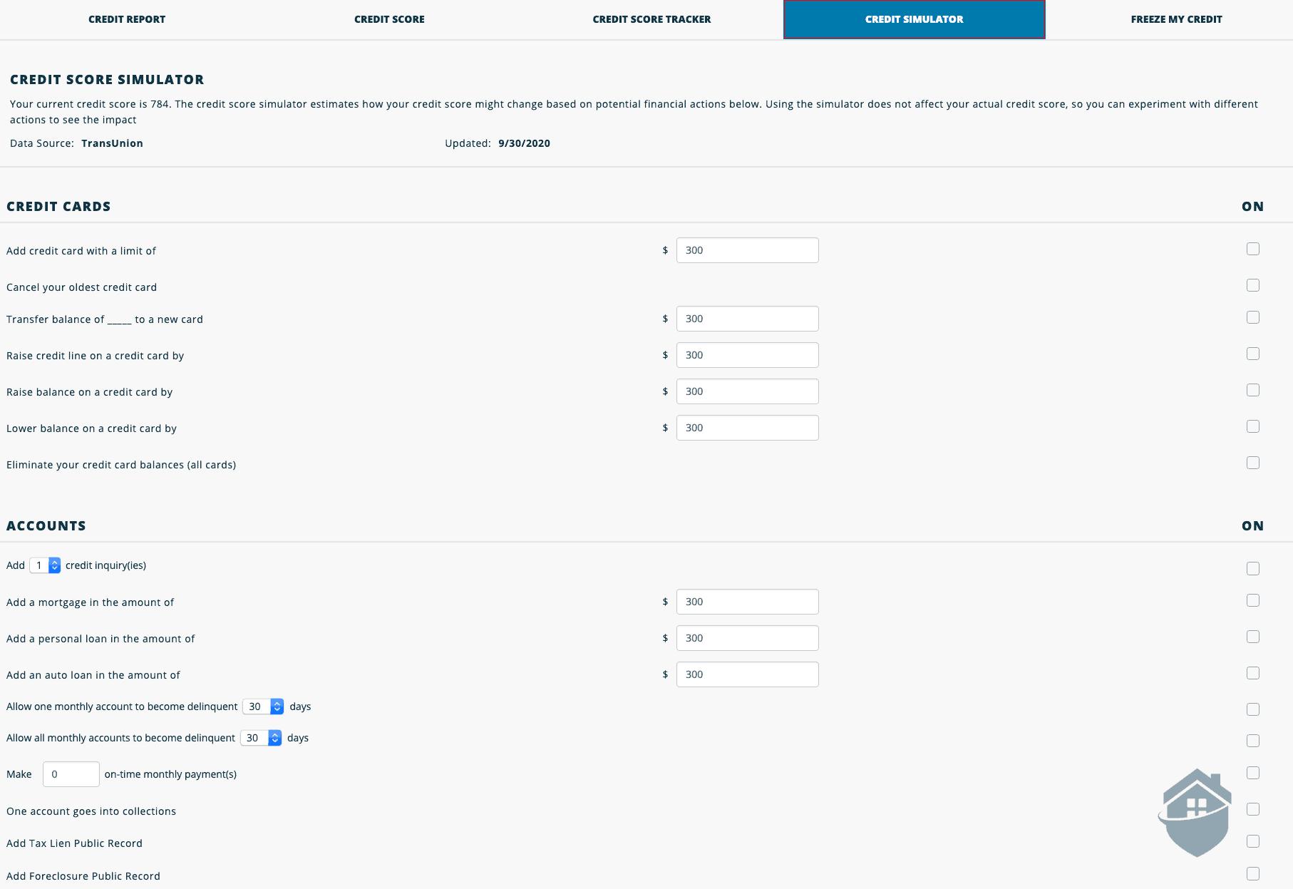 IdentityForce Credit Score Simulator