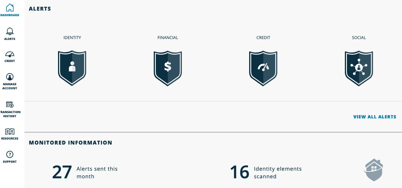 IdentityForce Desktop Dashboard