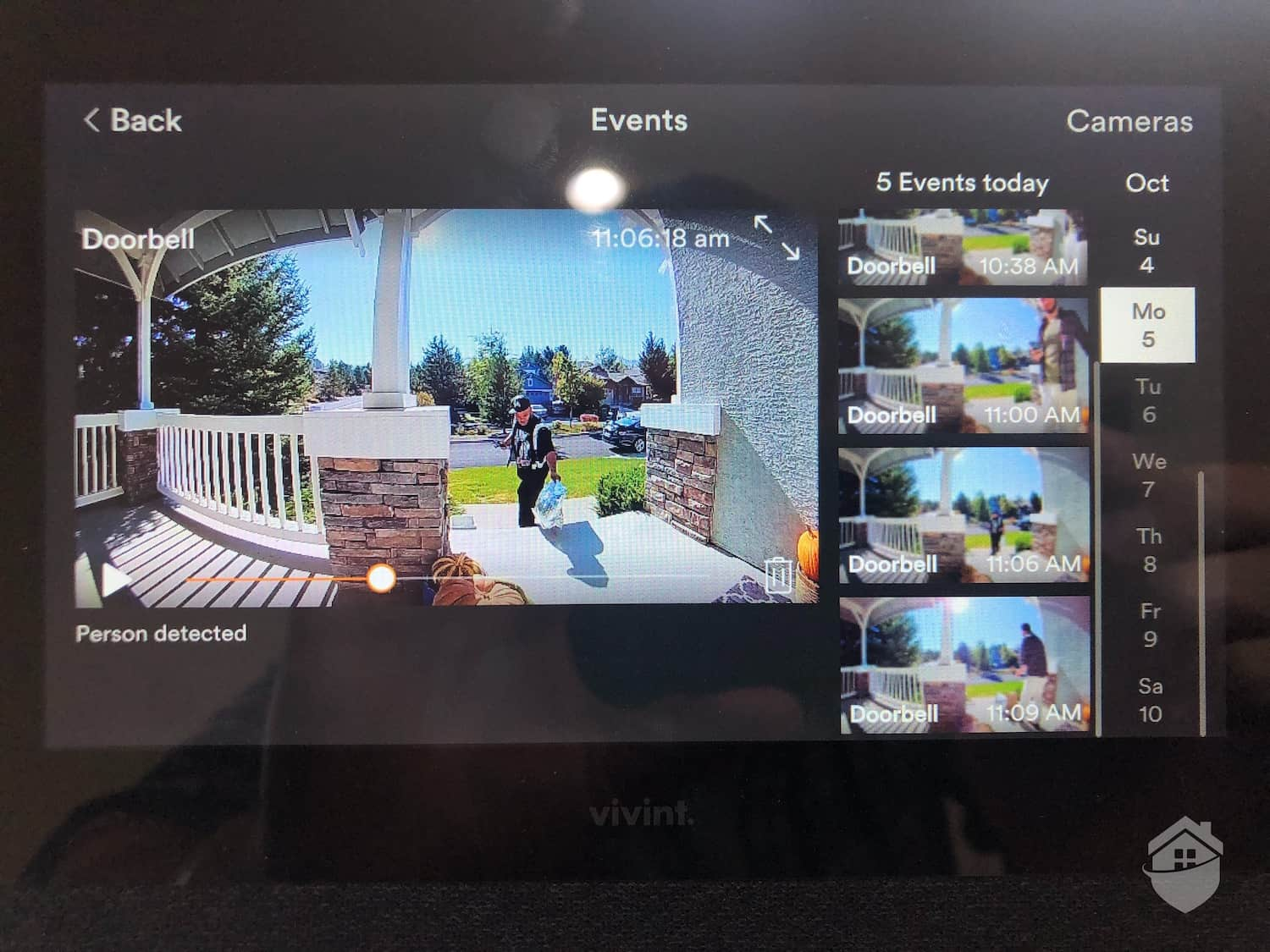 Live Video from the Vivint Doorbell, Viewed on the Smart Hub