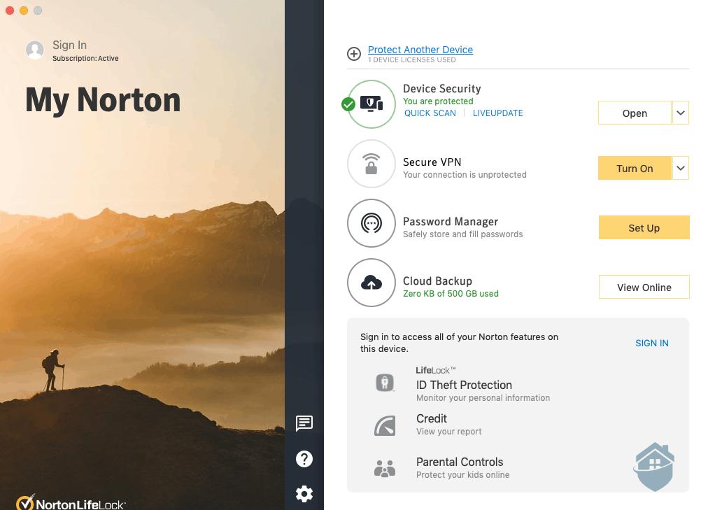 Norton LifeLock Dashboard
