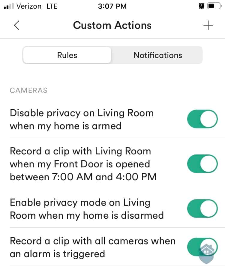Vivint App - Custom Actions