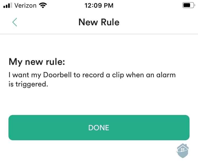 Vivint App Custom Rules
