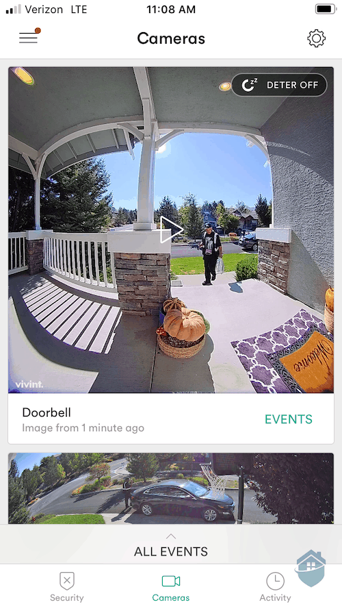 Vivint Doorbell in the Vivint App