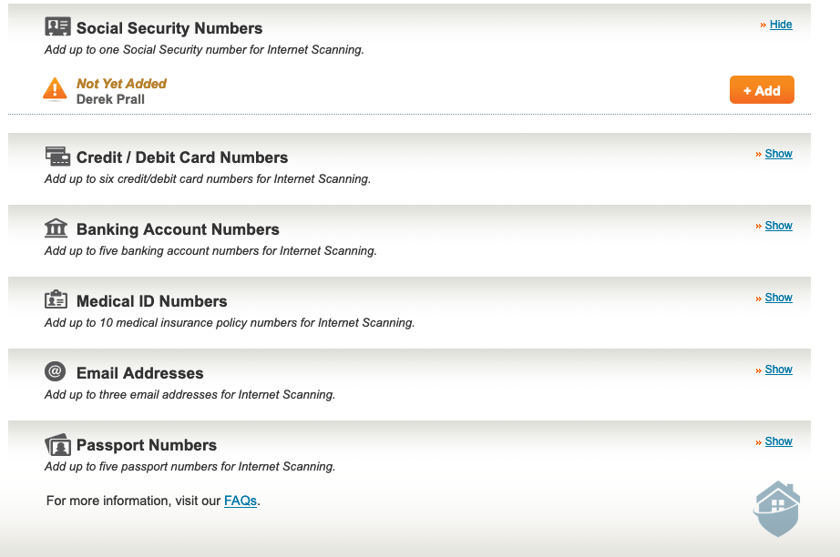 Equifax Social Security Scanning and other Monitoring Features