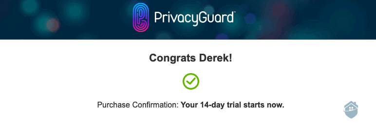 PrivacyGuard Purchase Confirmation