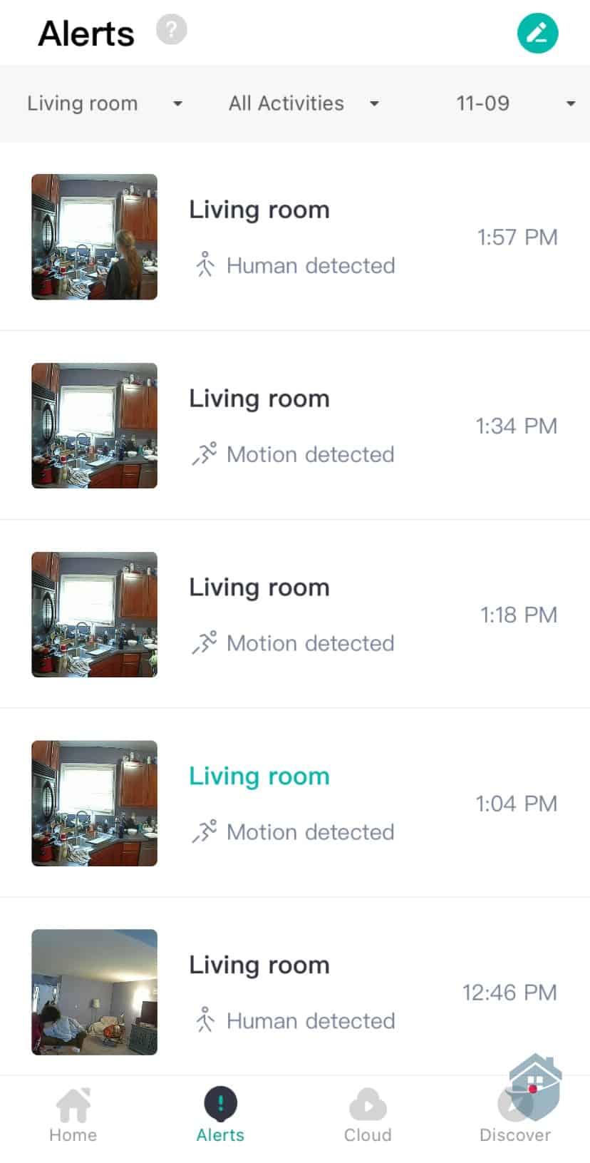 YI Camera Alerts Timeline