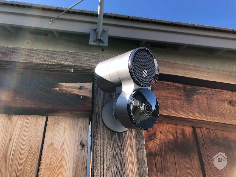 Deep Sentinel Camera, mounted on Fence