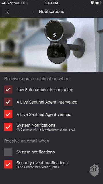 Deep Sentinel Notification Preferences