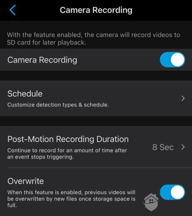 Reolink Argus 3 Pro Recording Settings
