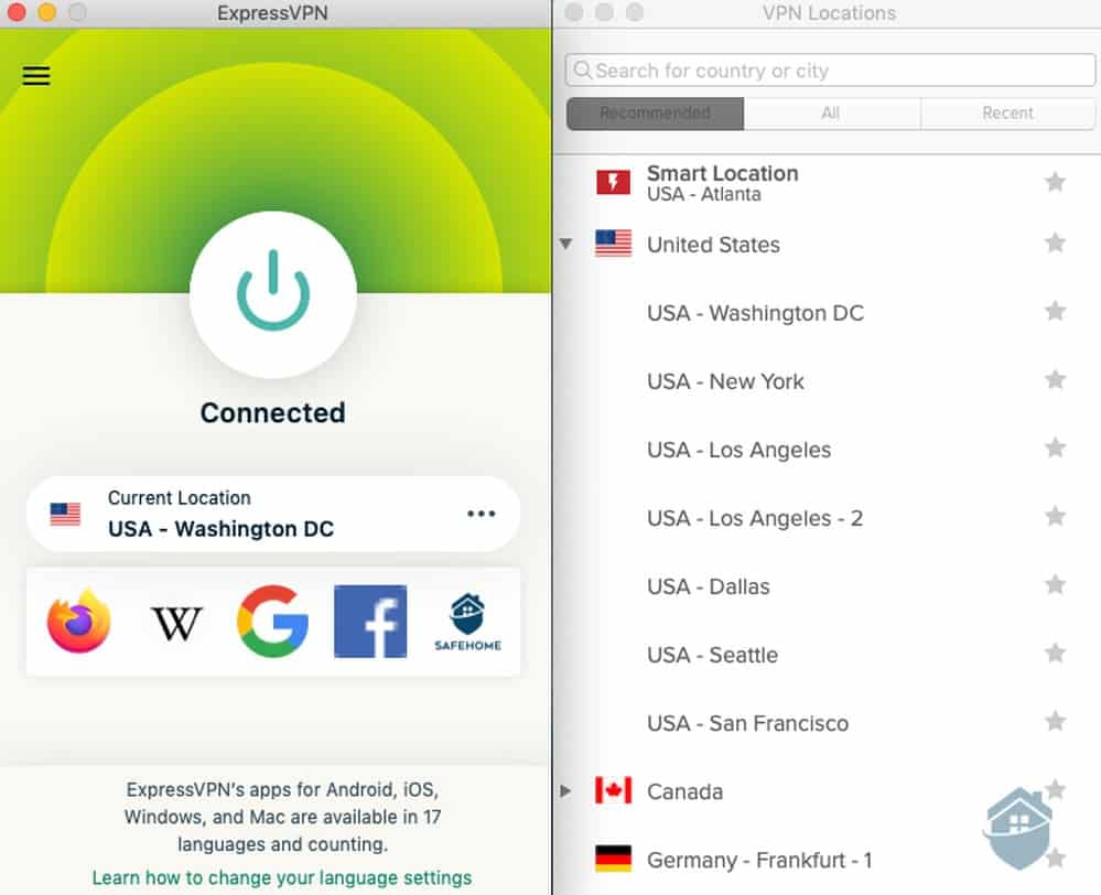 The ExpressVPN desktop client: no trees or ships, just a simple, relaxing green tunnel.
