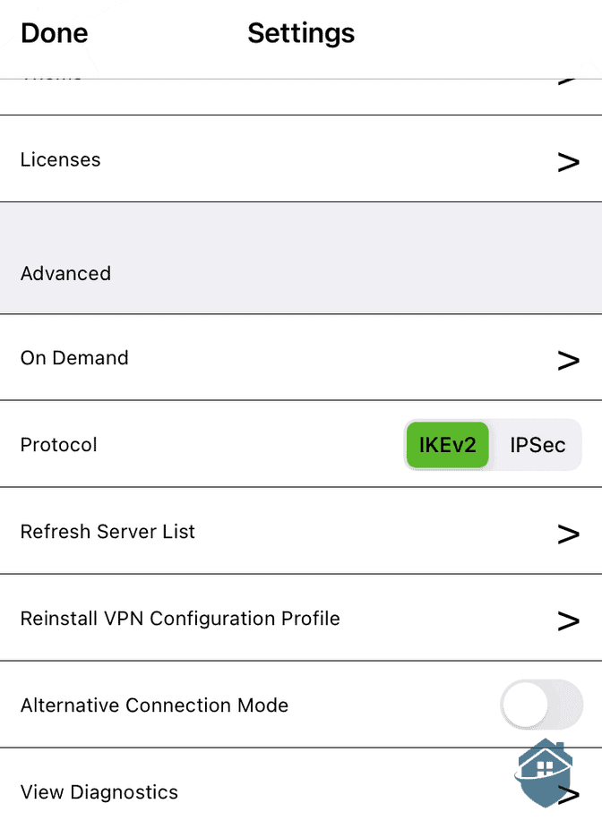 IPVanish Mobile Settings