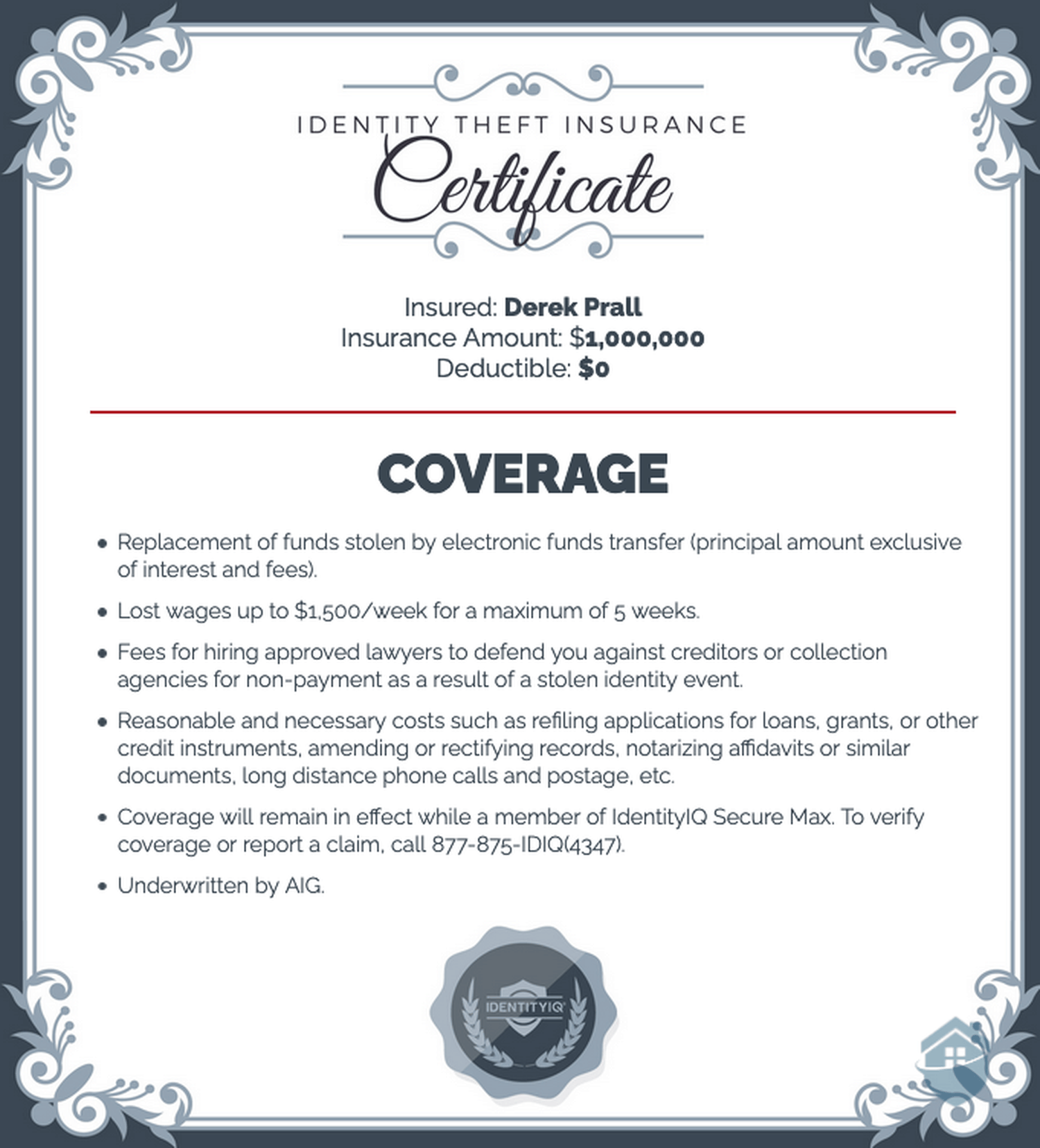 IdentityIQ Identity Theft Insurance Certificate
