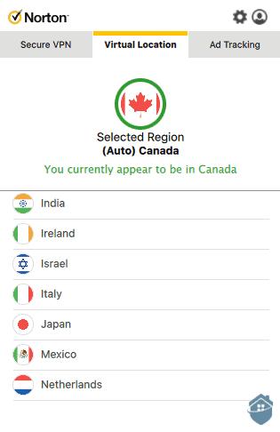 NortonVPN Selecting a Location