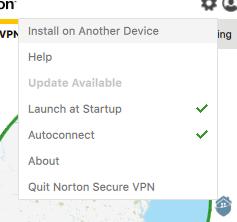 NortonVPN Settings Tab