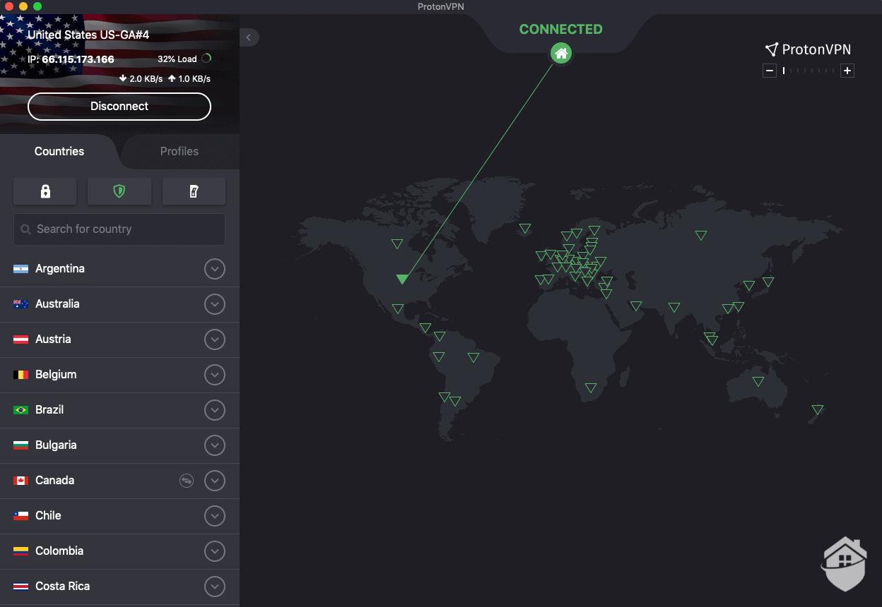 ProtonVPN Dashboard View