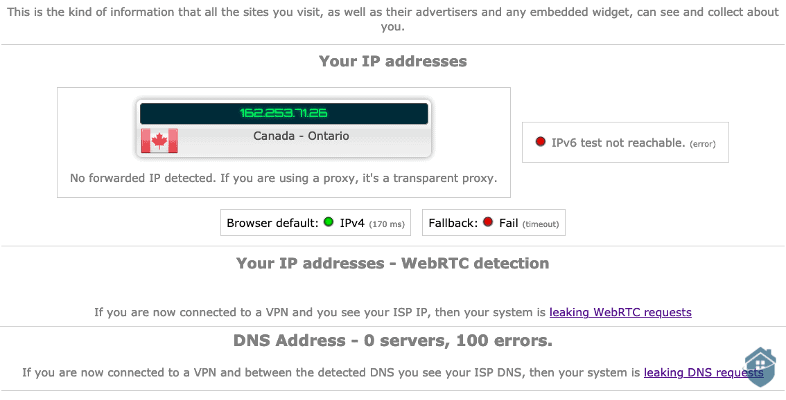 ProtonVPN IP Address and DNS Leak Test