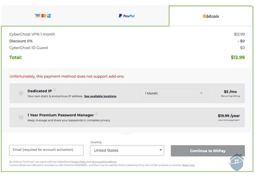 Purchasing CyberGhost VPN