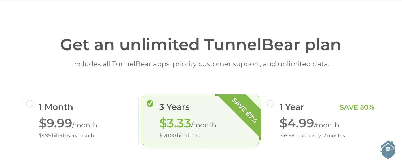 TunnelBear Pricing table