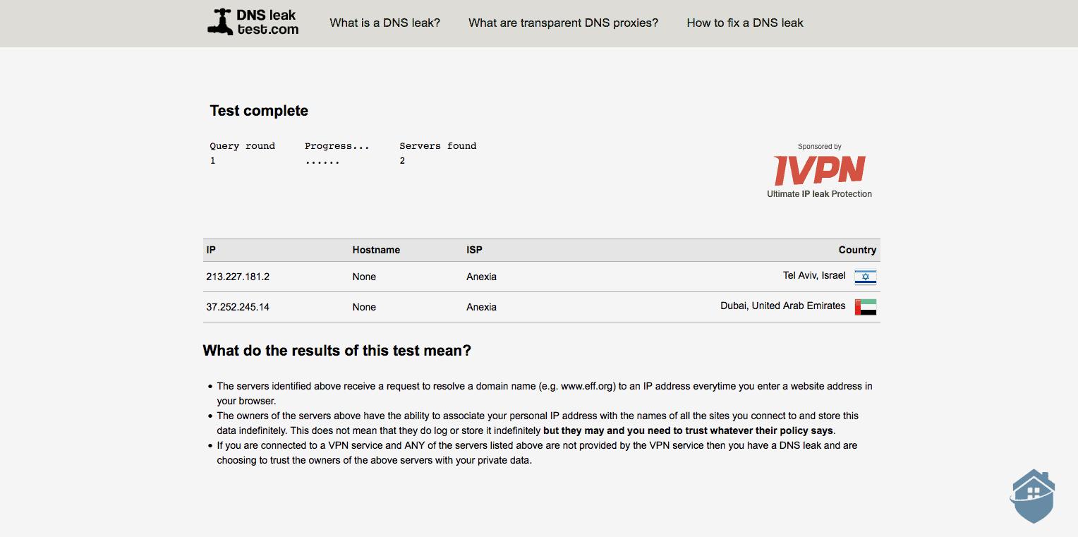 VyprVPN DNSleaktest.com