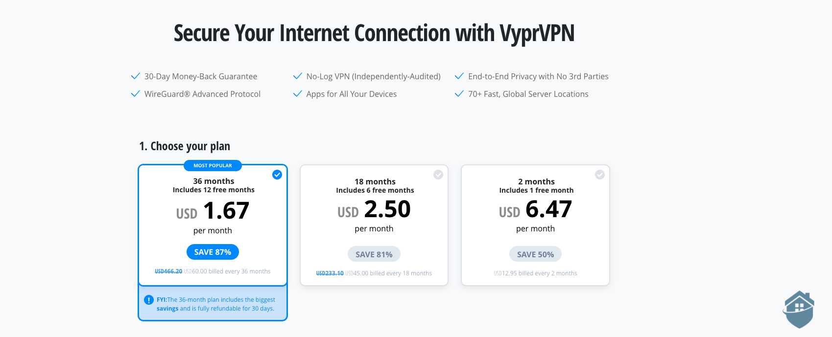 VyprVPN Pricing table