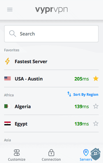 VyprVPN Servers list