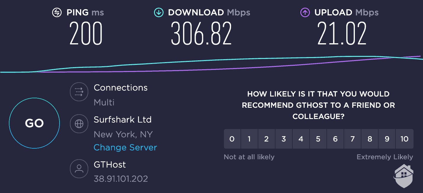 Connecting with Hotspot Shield's recommended server (Hello, Surfshark) within the U.S.