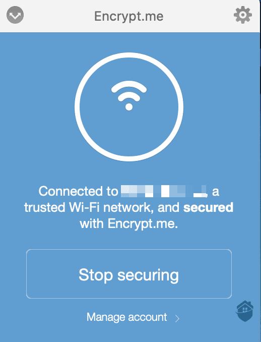 Encrypt.me's dashboard.