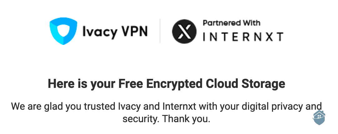Ivacy offers a partnership with Internxt for encrypted cloud storage.