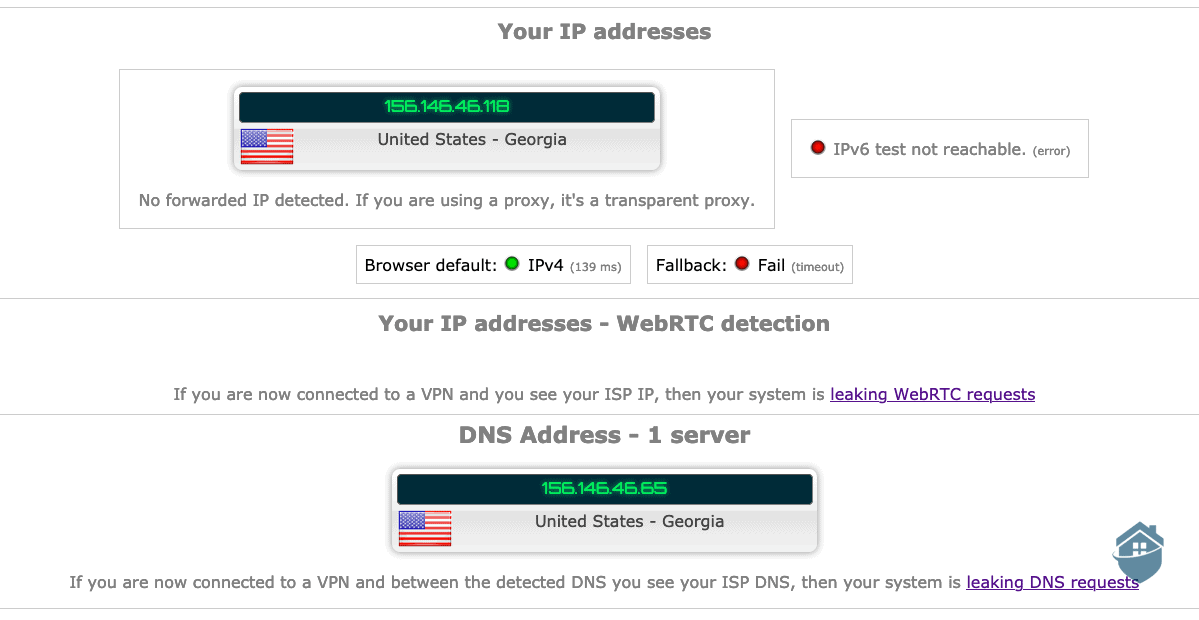 Security test of Private Internet Access