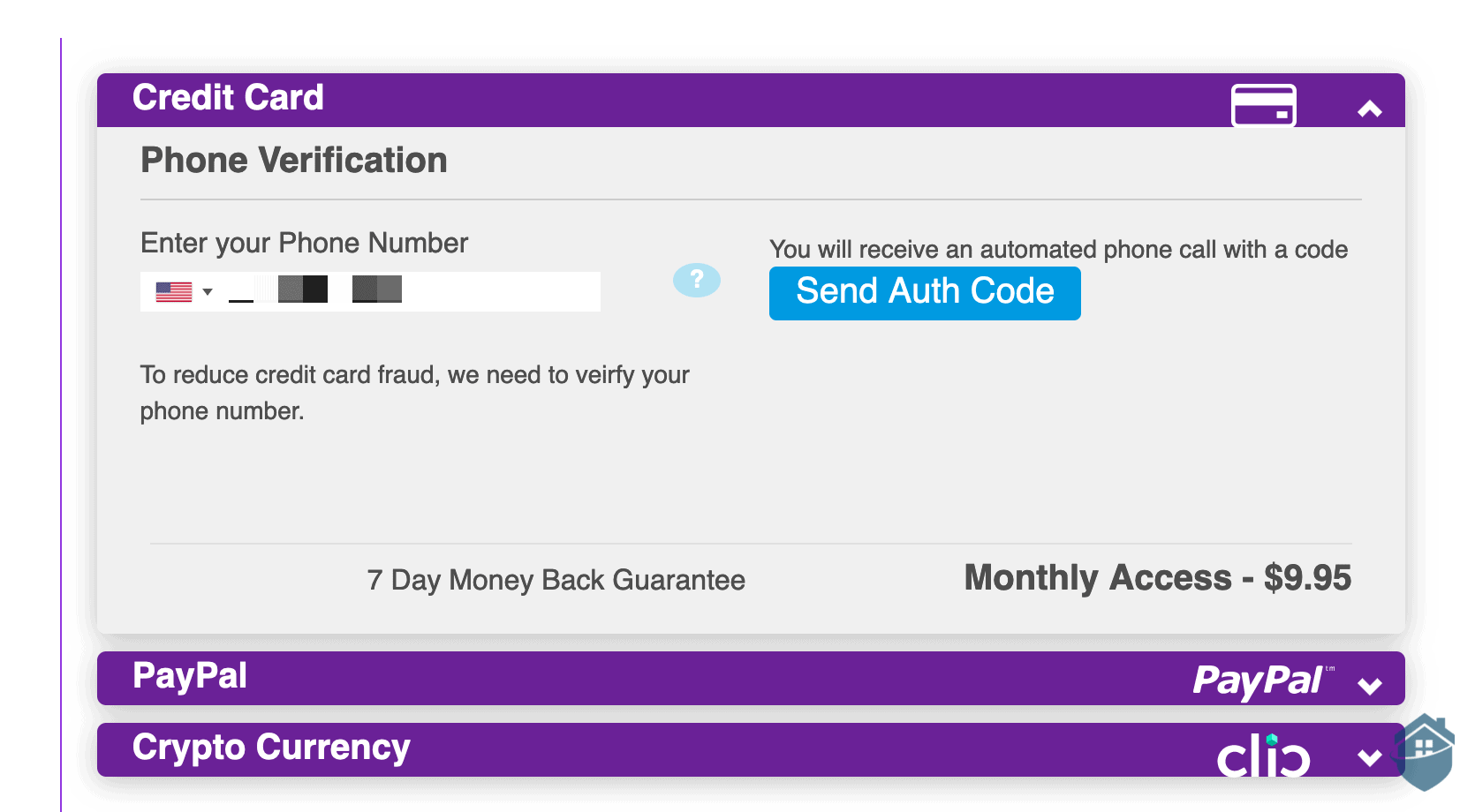 VPNSecure uses two-factor authentication for sign up.