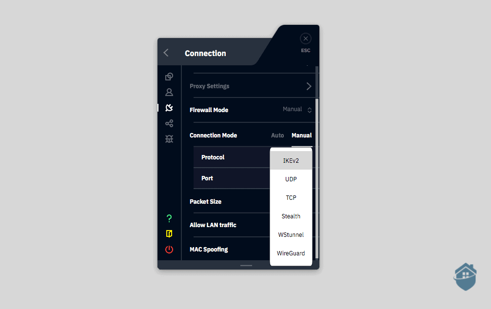 Windscribe gives you plenty of protocols to choose from with a stealth option.