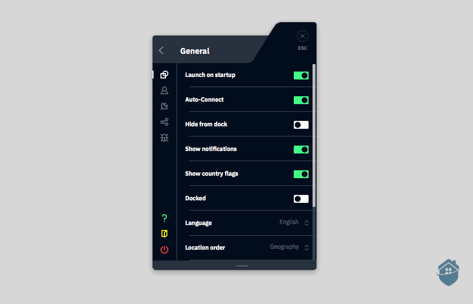 Windscribe's general features are easy to get to.