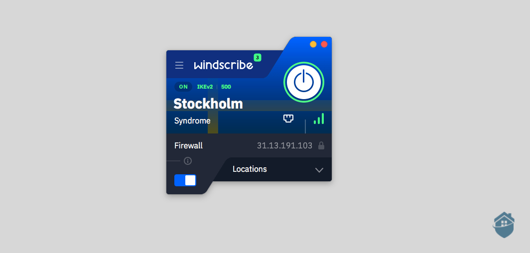 You can't miss the connect button on Windscribe's desktop client