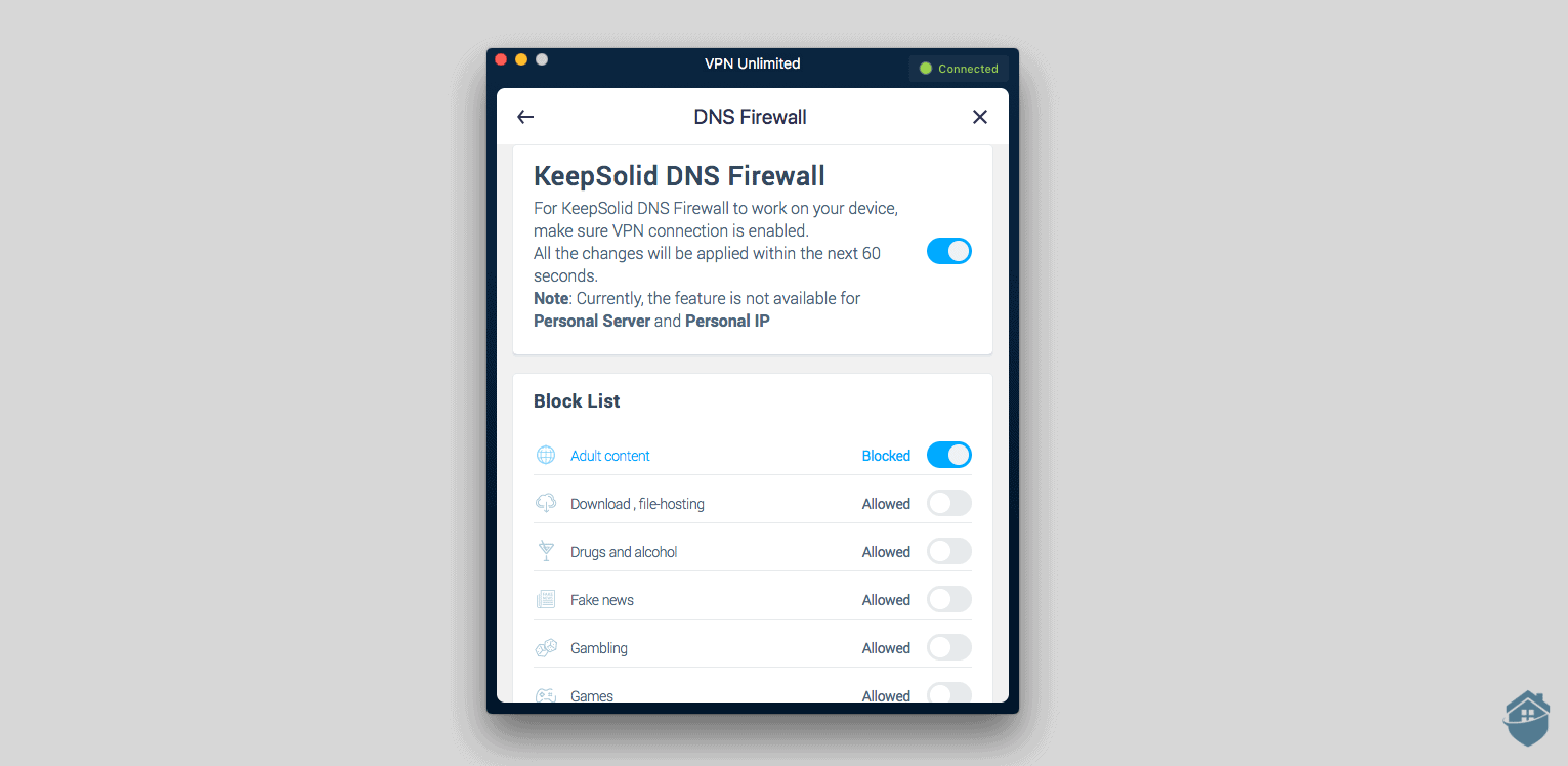 KeepSolid VPN's DNS Firewall