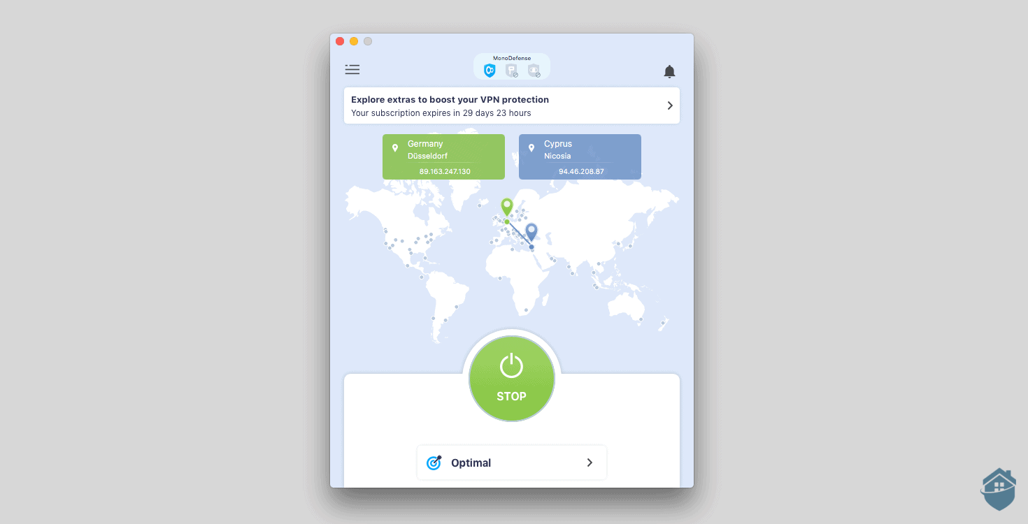 You'll never lose KeepSolid VPN's huge, green connection button