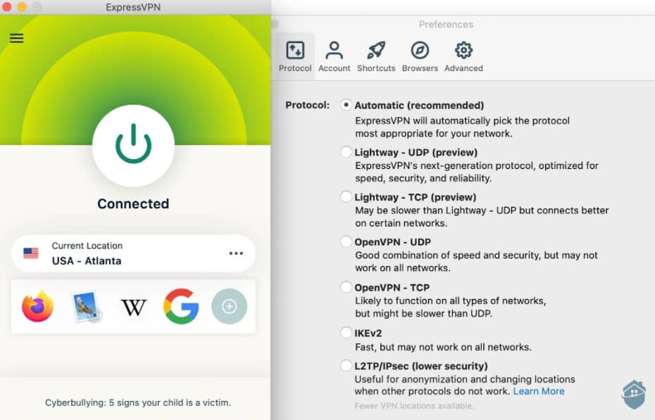 ExpressVPN Connected and Preferences