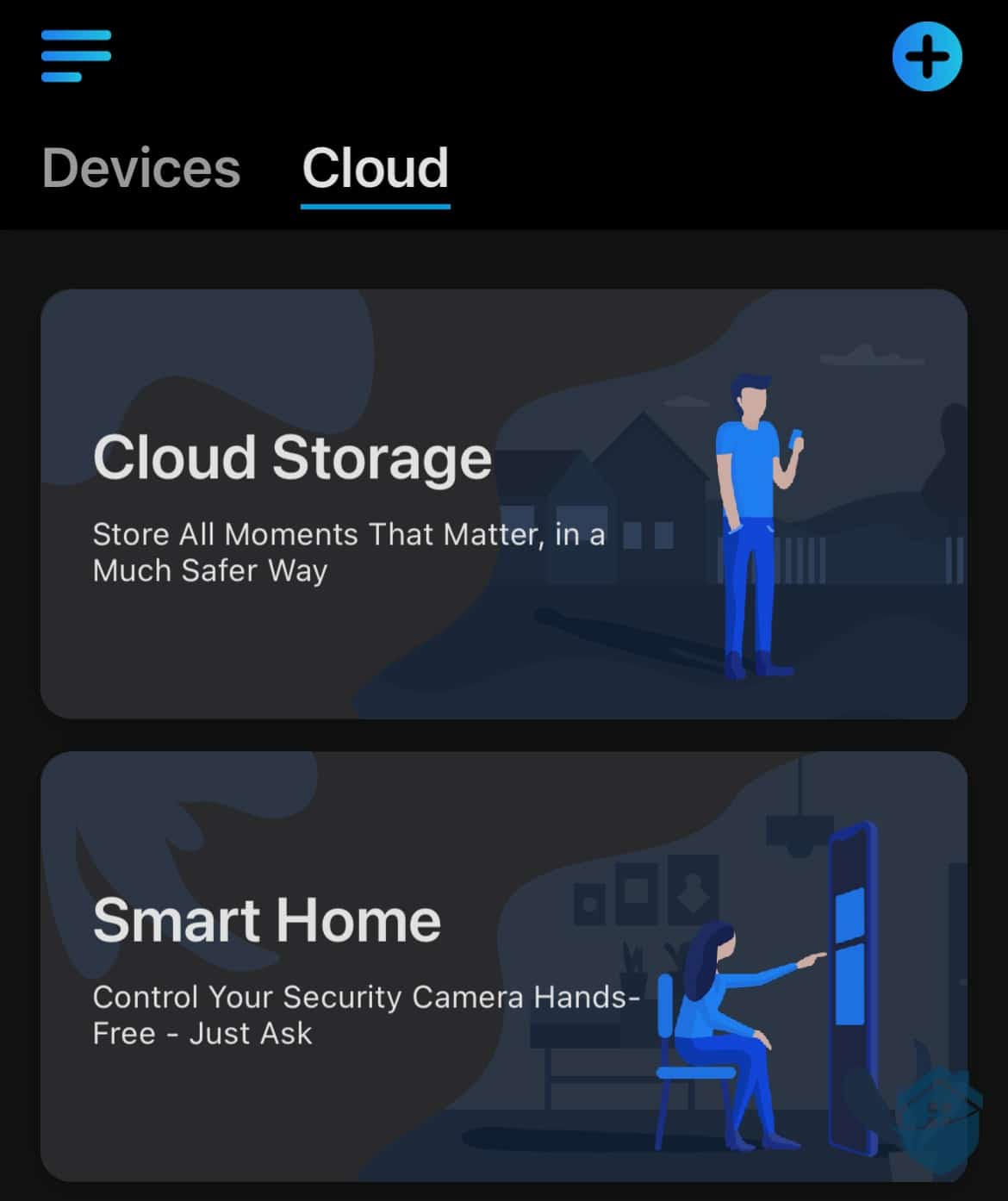 Reolink Argus 2E cloud storage and smart home tabs in app