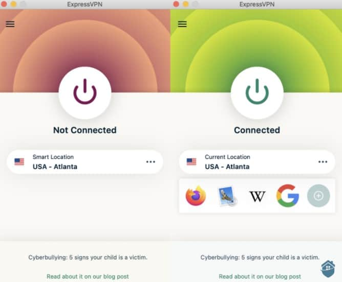 ExpressVPN Not Connected vs Connected